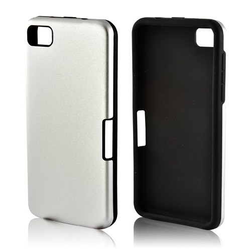 Silver Aluminum Hard Case on Silicone for Blackberry Z10