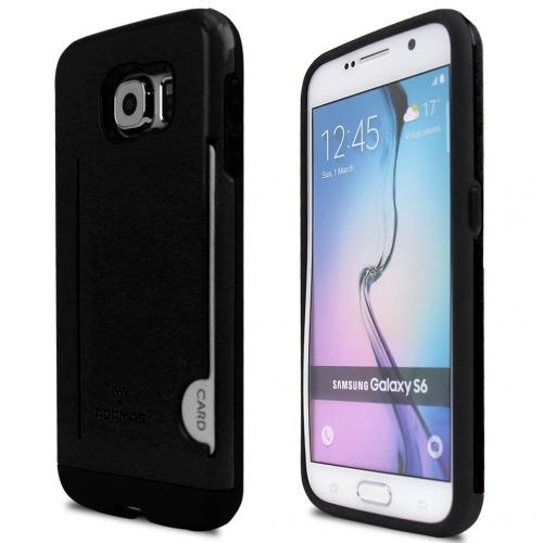 Samsung Galaxy S6 Case, ADAMAS [Black]  Slim Card Bumper Form-Fitting Hard Plastic Protective Case Cover