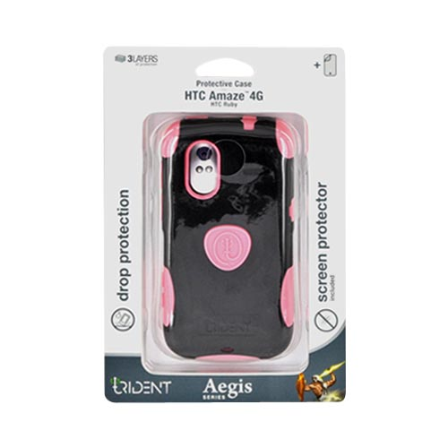 Original Trident Aegis HTC Amaze 4G Hard Cover Over Silicone Case w/ Screen Protector, AG-AMAZE-PK - Pink/ Black