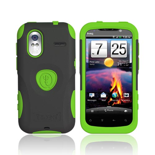 Original Trident Aegis HTC Amaze 4G Hard Cover Over Silicone Case w/ Screen Protector, AG-AMAZE-TG - Lime Green/ Black