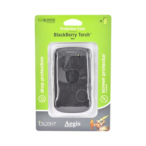Original Trident Aegis Blackberry Torch 9800 Hard Cover Over Silicone Case w/ Screen Protector, AG-BB-9800-BK - Black