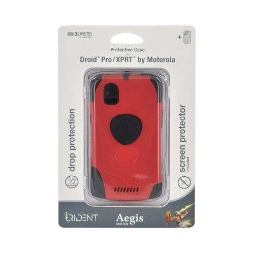 Original Trident Aegis Motorola XPRT MB612/ Droid Pro A957 Anti-Skid Hard Cover Over Silicone w/ Screen Protector, AG-DP-RD - Red/ Black
