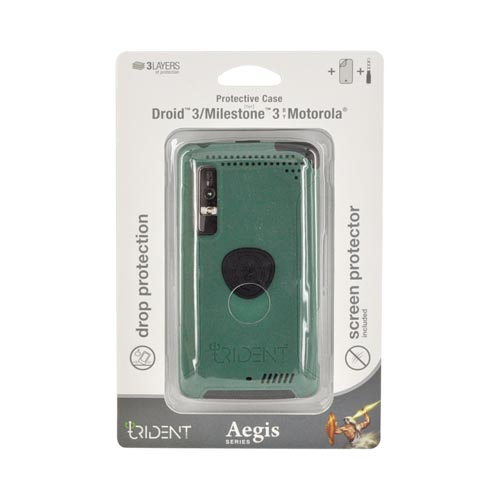 Original Trident Aegis Motorola Droid 3 Anti-Skid Hard Cover on Silicone Case w/ Screen Protector, AG-DR3-BG - Green/ Black