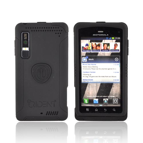 Original Trident Aegis Motorola Droid 3 Anti-Skid Hard Cover on Silicone Case w/ Screen Protector, AG-DR3-BK - Black