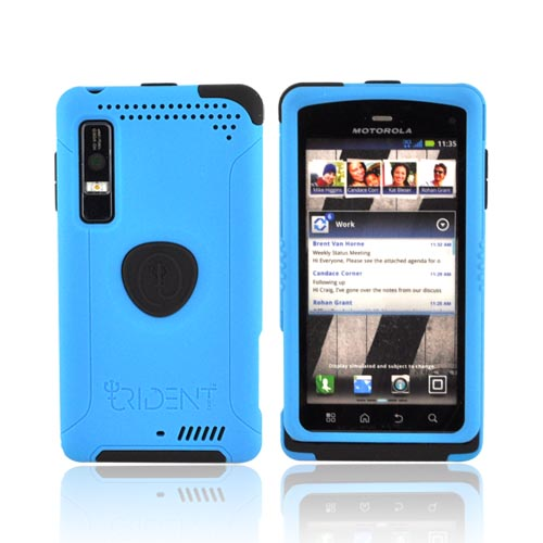 Original Trident Aegis Motorola Droid 3 Anti-Skid Hard Cover on Silicone Case w/ Screen Protector, AG-DR3-BL - Blue/ Black