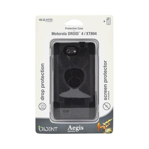 Original Trident Aegis Motorola Droid 4 Hard Cover Over Silicone Case w/ Screen Protector, AG-DR4-BK - Black