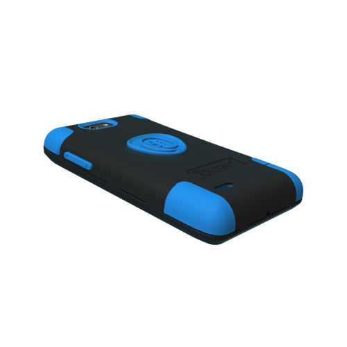 Original Trident Aegis Motorola Droid 4 Anti-Skid Hard Cover Over Silicone Case w/ Screen Protector, AG-DR4-BL - Blue/ Black