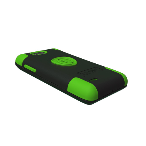 Original Trident Aegis Motorola Droid 4 Anti-Skid Hard Cover Over Silicone Case w/ Screen Protector, AG-DR4-TG - Lime Green/ Black