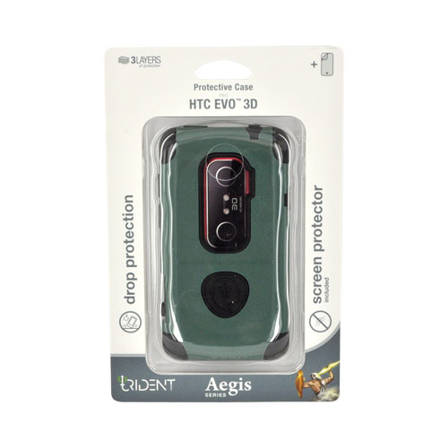 Original Trident Aegis HTC EVO 3D Hard Cover Over Silicone w/ Screen Protector, AG-EVO-3D-BG - Green/ Black