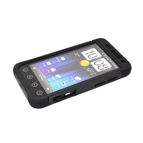 Original Trident Aegis HTC EVO 3D Hard Cover Over Silicone Case w/ Screen Protector, AG-EVO-3D-BK - Black
