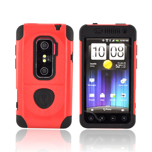 Original Trident Aegis HTC EVO 3D Hard Cover Over Silicone w/ Screen Protector, AG-EVO-3D-RD - Red/ Black