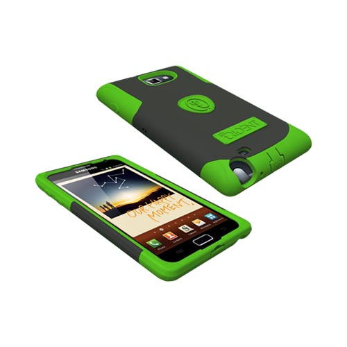 Original Trident Samsung Galaxy Note Aegis Hard Cover Over Silicone Case w/ Screen Protector, AG-GNOTE-TG - Lime Green/ Black