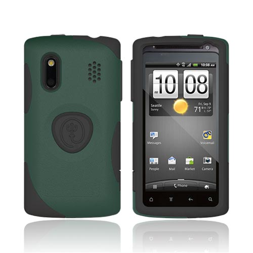 Original Trident HTC EVO Design 4G Aegis Hard Case on Silicone w/ Screen Protector, AG-HERO-BG - Green/ Black