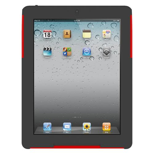 Original Trident Aegis Apple iPad 2 Hard Case Over Silicone w/ Screen Protector, AG-IPAD-2-RD - Red/ Black
