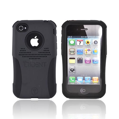 Original Trident AT&T/Verizon Apple iPhone 4, iPhone 4S Aegis Hard Case Over Silicone Screen Protector, AG-IPH4-BK - Black