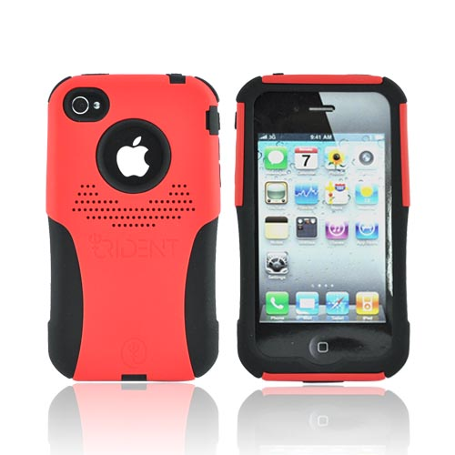 Original Trident AT&T/Verizon Apple iPhone 4, iPhone 4S Aegis Hard Case Over Silicone Screen Protector, AG-IPH4-RD - Red/Black