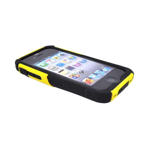 Original Trident AT&T/Verizon Apple iPhone 4, iPhone 4S Aegis Hard Case Over Silicone Screen Protector, AG-IPH4-YL - Yellow/Black
