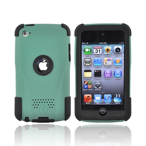 Original Trident Apple iPod Touch 4 Aegis Hard Case Over Silicone w/ Audio Jack and Screen Protector, AG-IPOD4-BG - Green/Black