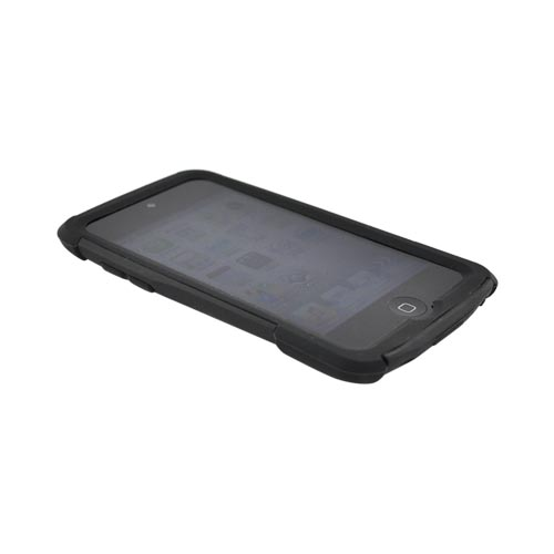 Original Trident Apple iPod Touch 4 Aegis Hard Case Over Silicone w/ Audio Jack and Screen Protector, AG-IPOD4-BK - Black