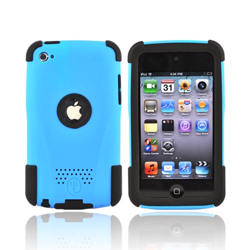 Original Trident Apple iPod Touch 4 Aegis Hard Case Over Silicone w/ Audio Jack and Screen Protector, AG-IPOD4-BL - Blue/Black