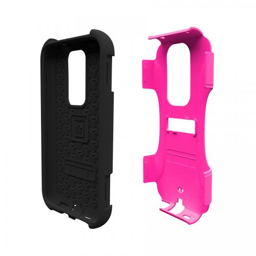 Trident Hot Pink/ Black Aegis Series Hard Cover on Silicone Case w/ Screen Protector for LG G2 (All Carriers) - AG-LG-G2-PNK