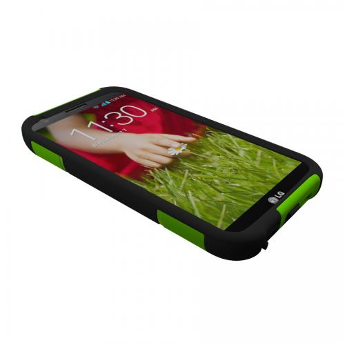 Trident Lime Green/ Black Aegis Series Hard Cover on Silicone Case w/ Screen Protector for LG G2 (All Carriers) - AG-LG-G2-TG