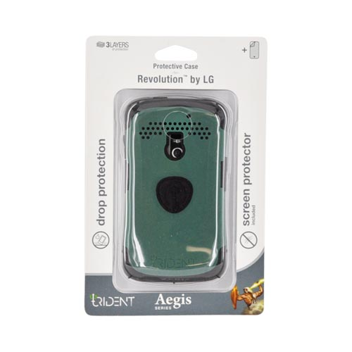 Original Trident Aegis LG Revolution, LG Esteem Hard Cover Over Silicone Case w/ Screen Protector, AG-LG-REV-BG - Green/ Black