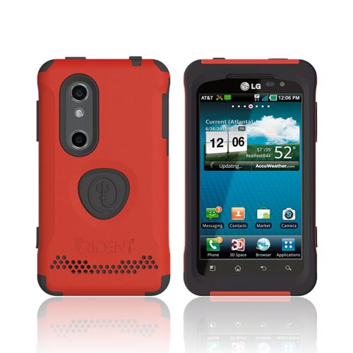 Original Trident Aegis LG Thrill 4G Anti-Skid Hard Cover Over Silicone Case w/ Screen Protector, AG-LG-THRL-RD - Red/ Black
