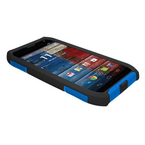 Trident Blue/ Black Aegis Series Hard Cover on Silicone Skin Case w/ Screen Protector for Motorola Moto X (2013 1st Gen) - AG-MOT-X-BLU