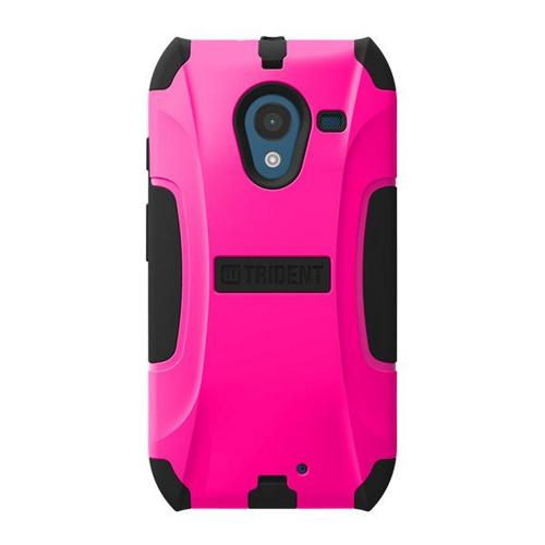 Trident Hot Pink/ Black Aegis Series Hard Cover on Silicone Skin Case w/ Screen Protector for Motorola Moto X (2013 1st Gen) - AG-MOT-X-PNK