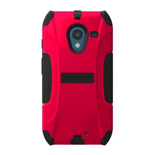 Trident Red/ Black Aegis Series Hard Cover on Silicone Skin Case w/ Screen Protector for Motorola Moto X - AG-MOT-X-RED