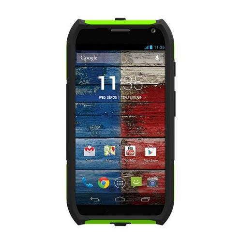 Trident Lime Green/ Black Aegis Series Hard Cover on Silicone Skin Case w/ Screen Protector for Motorola Moto X (2013 1st Gen) - AG-MOT-X-TG