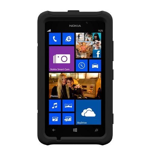 Trident Black Aegis Series Hard Cover on Silicone Skin Case w/ Screen Protector for Nokia Lumia 925 - AG-NOK-LUMIA925-BK