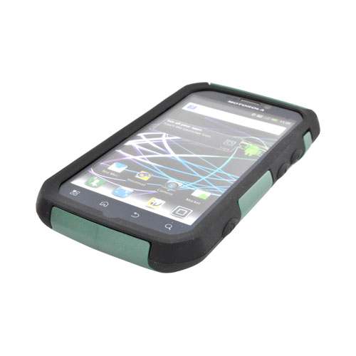 Original Trident Aegis Motorola Photon 4G Hard Cover Over Silicone Case, AG-PHTN-BG - Green/ Black