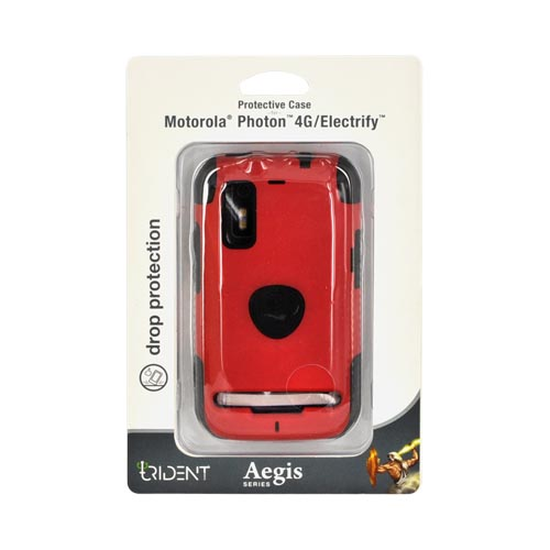 Original Trident Aegis Motorola Photon 4G Hard Cover Over Silicone Case, AG-PHTN-RD - Red/ Black