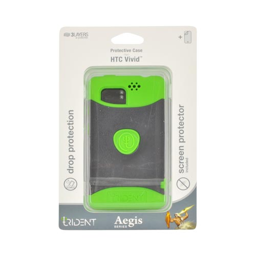 Original Trident Aegis HTC Vivid Hard Cover on Silicone Case w/ Screen Protector, AG-RDER-TG - Lime Green/ Black