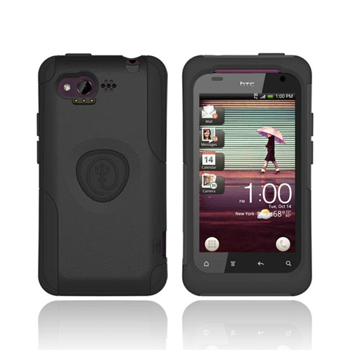 Original Trident Aegis HTC Rhyme Hard Cover Over Silicone Case w/ Screen Protector, AG-RHYME-BK - Black