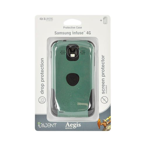 Original Trident Aegis Samsung Infuse i997 Rubberized Hard Cover Over Silicone Case w/ Screen Protector, AG-SINF-BG - Green/ Black