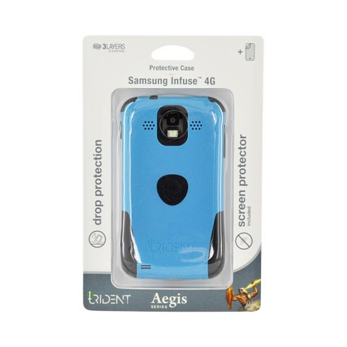 Original Trident Aegis Samsung Infuse i997 Rubberized Hard Cover Over Silicone Case w/ Screen Protector, AG-SINF-BL - Blue/ Black