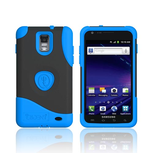 Original Trident Aegis Samsung Galaxy S2 Skyrocket Anti-Skid Hard Cover Over Silicone Case w/ Screen Protector, AG-SKYRCKT-BL - Blue/ Black