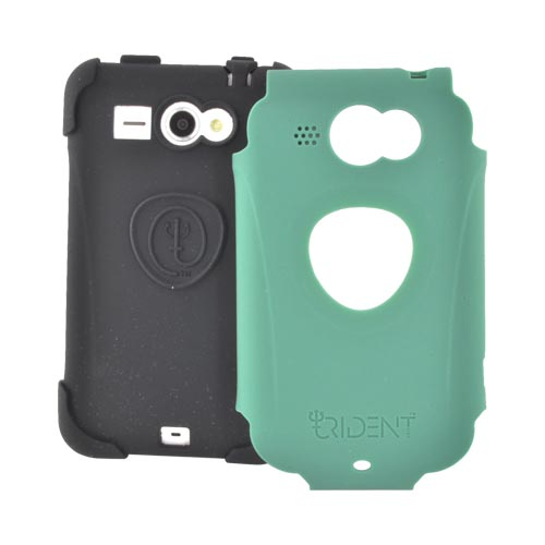 Original Trident Aegis HTC Status Anti-Skid Hard Cover Over Silicone Case w/ Screen Protector, AG-STS-BG - Green/ Black