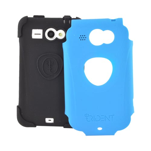 Original Trident Aegis HTC Status Anti-Skid Hard Cover Over Silicone Case w/ Screen Protector, AG-STS-BL - Blue/ Black