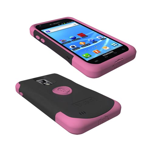 Original Trident Aegis T-Mobile Samsung Galaxy S2 Hard Cover Over Silicone Case w/ Screen Protector,AG-T989-PK - Pink/ Black
