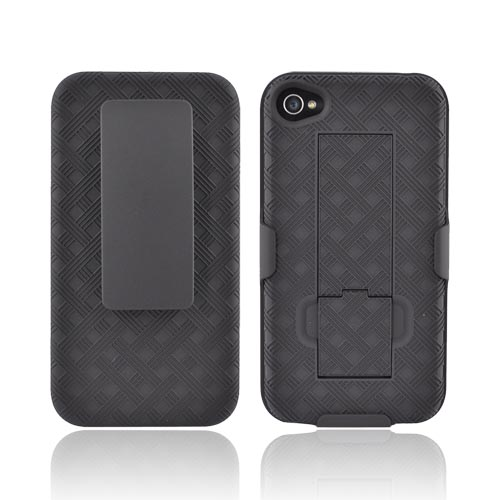 Original Pure Gear Apple AT&T/ Verizon iPhone 4, iPhone 4SRubberized Hard Case w/ Holster & Kickstand, AIP4HOC - Black
