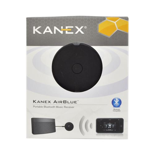 Original Kanex AirBlue Universal Portable Bluetooth Music Receiver w/ 3.5mm to 3.5mm & 3.5mm to RCA Cables, AIRBLUE - Black