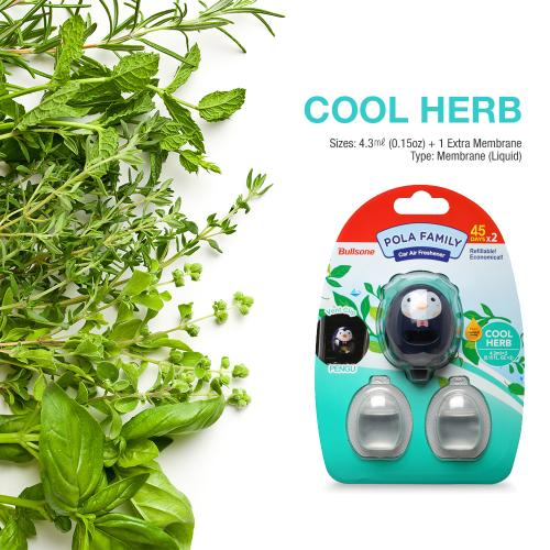 Car Air Freshener, [Herb] Bullsone Pola Family Refillable Vent Clip Pengu + 1 Extra Refill - 100% Natural Essential Oil Scents!