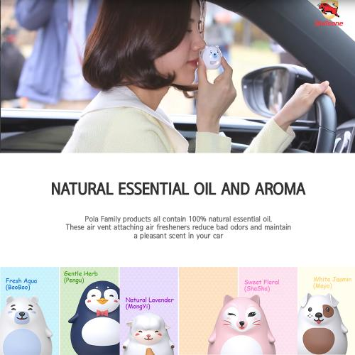 Car Air Freshener, [Aqua] Bullsone Pola Family Refillable Vent Clip BooBoo + 1 Extra Refill - 100% Natural Essential Oil Scents!