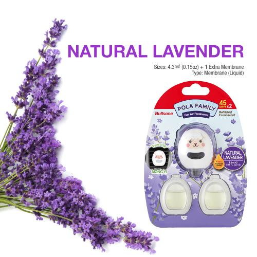Car Air Freshener, [Lavender] Bullsone Pola Family Refillable Vent Clip MongYi + 1 Extra Refill - 100% Natural Essential Oil Scents!