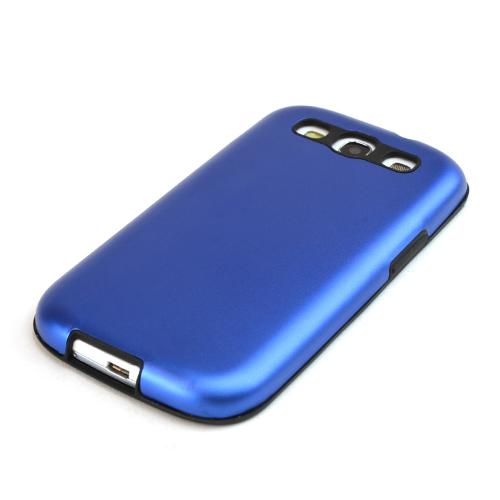 Samsung Galaxy S3 Aluminum Hard Case on Silicone - Blue Aluminum on Black