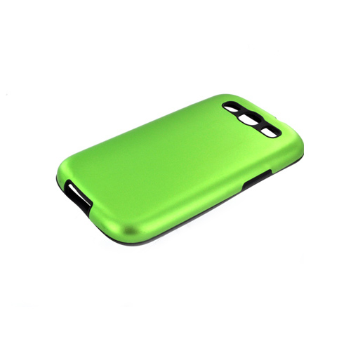Samsung Galaxy S3 Aluminum Hard Case on Silicone - Green Aluminum on Black